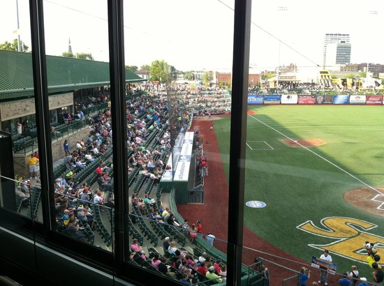 Four Winds Field at Coveleski Stadium : View of the field from the gathering room