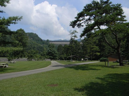Fontana Village Resort : A view of the dam at the campground.