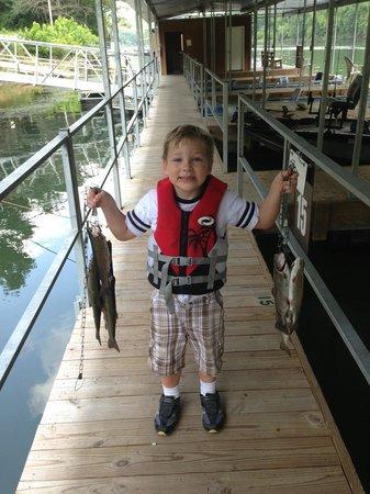 Lake Taneycomo: Landon catching his limit !!!