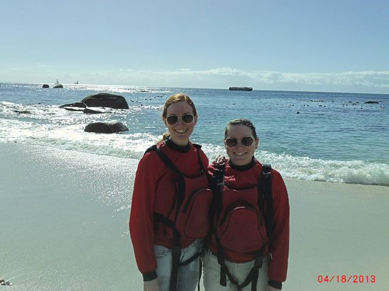 Kayak Cape Town: My sis and me on the shore