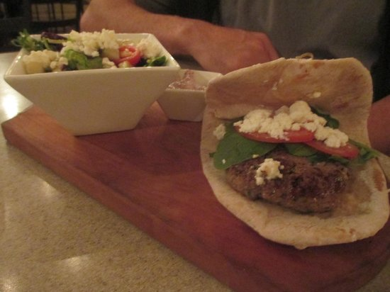 M Restaurant: Lamb burger with greek salad