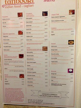 Tandoori Indian Food: il menù