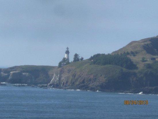 Best Western Agate Beach Inn: The lighthouse across the cove