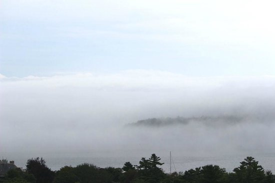Atlantic Eyrie Lodge : Veiw of  Bar Island Peeking out from the morning mist  from the 4th floor Balcony