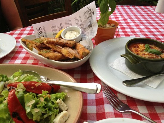La Pastaria Dragoman: Zucchini fritters, aubergine parmigiana and goats cheese and roasted veg salad