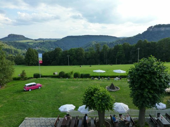 Panoramahotel Lilienstein: View from our bedroom (complete with Trabant!)