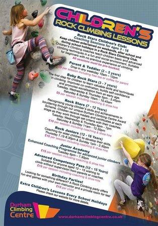Durham Climbing Centre: Rock Stars Children's Timetable