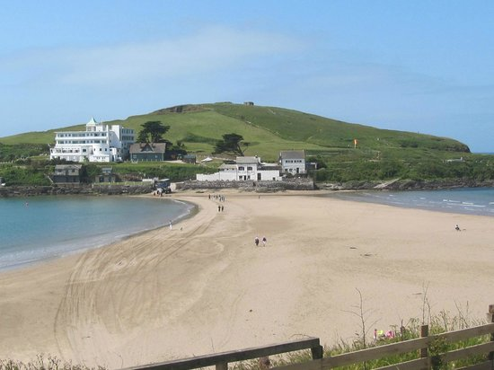 View across to Burgh Island from the mainland. The sand bar is covered at high tide.