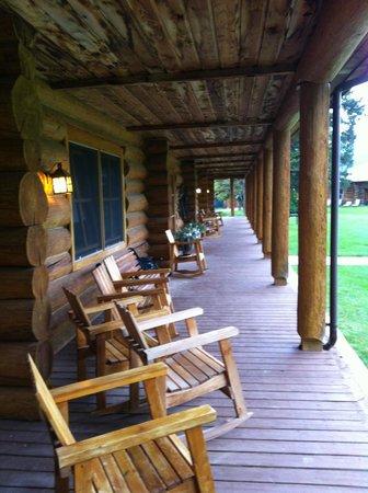Three Bars Guest Ranch: main porch of lodge