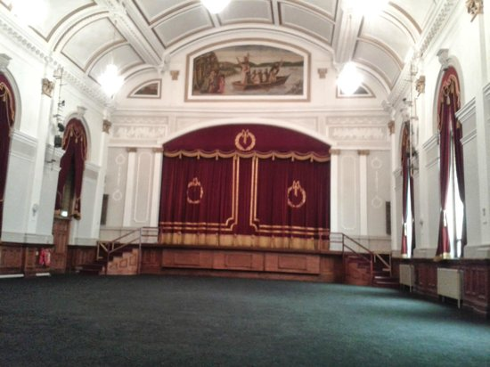 St. Columb's Hall: Main auditorium stage and original paintings