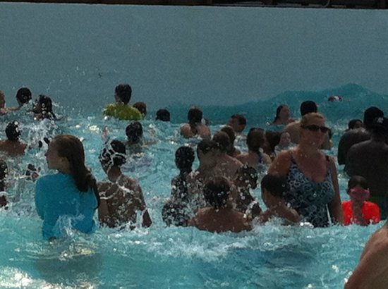 SplashDown Beach Water Park: The Wave Pool is packed on a hot day!