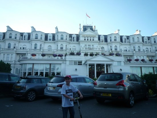 The Grand Hotel Eastbourne : Sam outside the front of The Grand