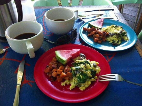 The Breakfast Club at Ola Lola's: Egg scramble, batatas (Puerto Rican yams), amazing coffee!
