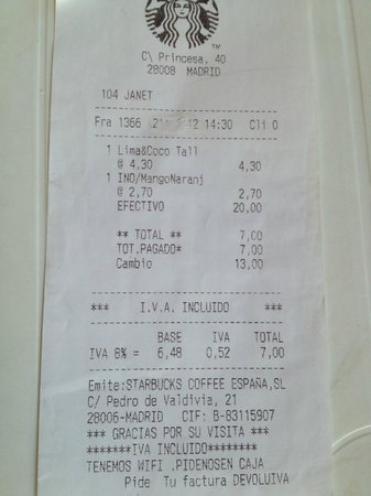 receipt 1 picture of starbucks madrid tripadvisor. Black Bedroom Furniture Sets. Home Design Ideas