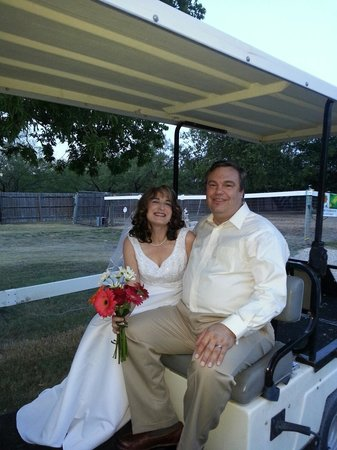 Old Irish B&B - Wedding & Event Center: Happy in the limo golf cart