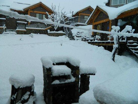 Cabanas Bosque Andino: Hermoso despertar con nieve.....