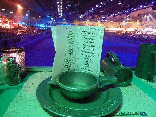 Medieval Times Buena Park : menu and medieval dinner ware.