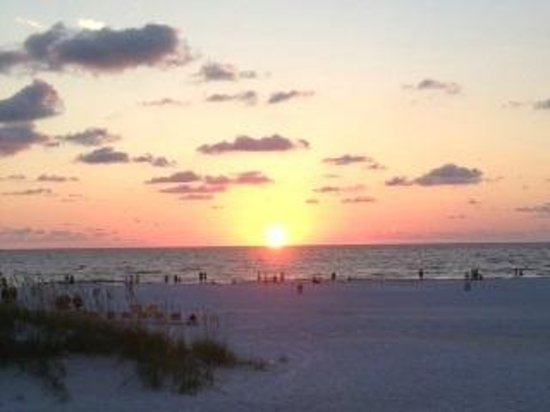 Caretta on the Gulf: View of sunset from our table
