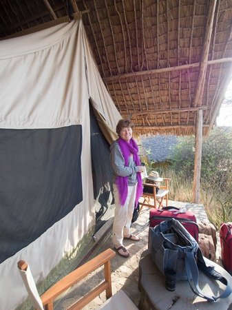 Olduvai Camp : Me outside tent ready to leave for breakast