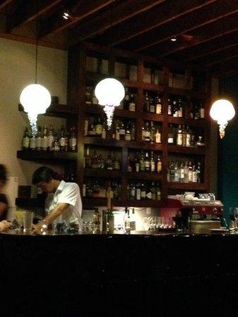 Cabezon Restaurant: Glass jellyfish lighting fixtures at the funky bar