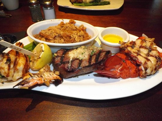 Elephant Bar and Restaurant: Sirloin Steak with Lobster Tail, Wood-Fired Jumbo Prawns, and Sweet Potato Casserole