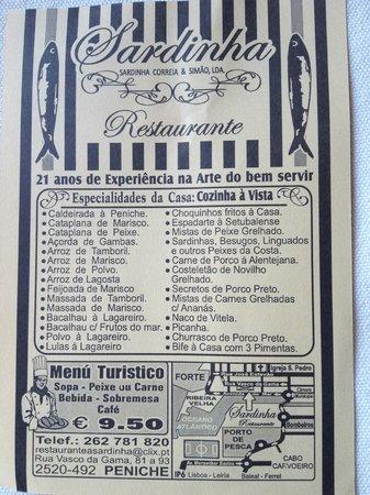 Restaurante a Sardinha: de menukaart