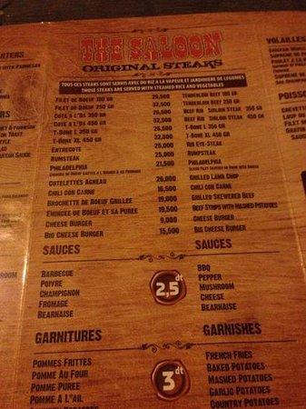 The Saloon: Saloon menu