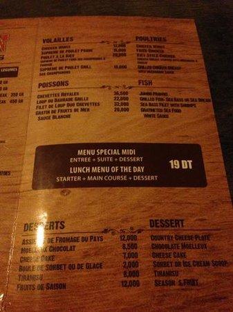 The Saloon : Saloon menu
