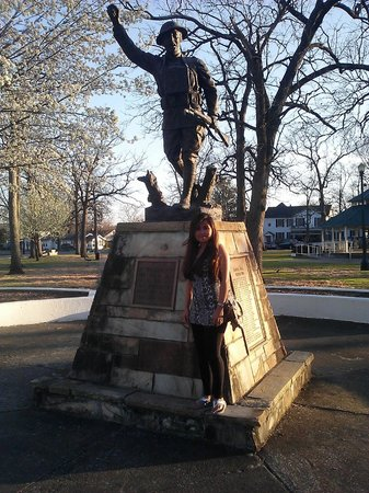 My wife in front of the Doughboy Monument at DeBardeleben Park.