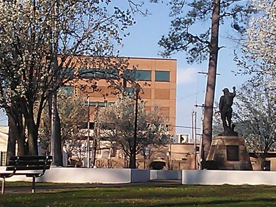 Bessemer, AL: Far away back view of the Doughboy Monument at DeBardeleben Park.