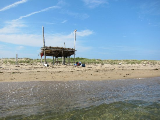 Long Point: We build this hut from driftwood that we found on the beach