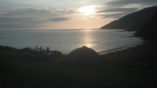 Meat Cove Campground & Oceanside Chowder Hut: Early morning view of campsite coming back from ladies room