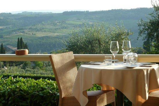 Villa I Barronci: View from the outside dining area
