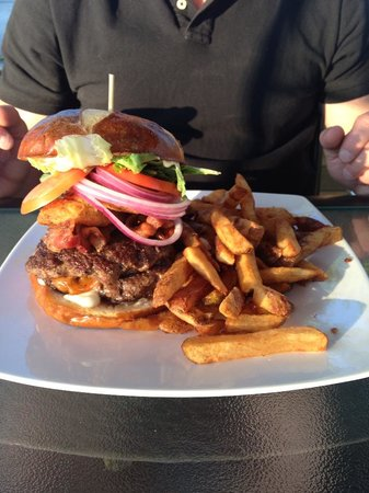 The Waterfront River Pub and Terrace: Double stack burger