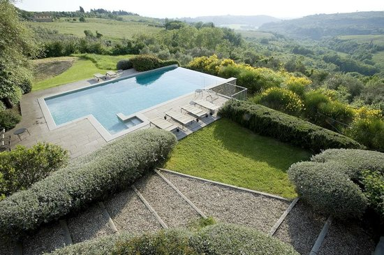 Podere Barberino in Chianti: valley view from the infinity pool