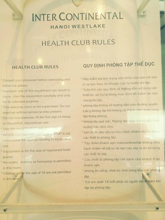 InterContinental Hanoi Westlake: the gym regulation post at the gym