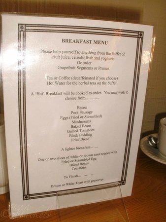 Kingsholm Hotel: Wahlmöglichkeiten beim Frühstück