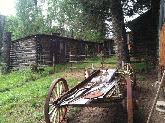 Los Pinos Guest Ranch : An old log structure and wagon, everywhere you turn - it's scenic!