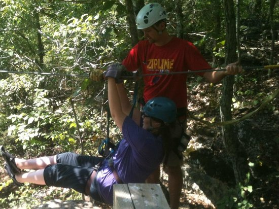 Zip Line USA: Daughter taking the first ride..