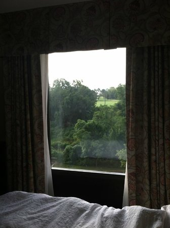 Hampton Inn & Suites Alexandria Old Town Area South: View from bed over Golf Course and Potomac