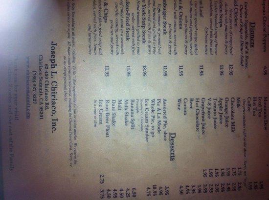 Chiriaco Summit Cafe: carta del restaurante