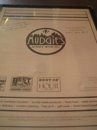Mudgie's : Le menu...
