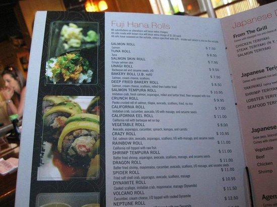 Menu photo de fuji hana japanese restaurant miami for Accord asian cuisine menu