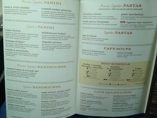 graphic relating to Printable Panera Menu called Menu 2 - Imagine of Panera Bread, Lake Charles - TripAdvisor
