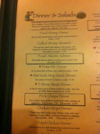 Pine Country Restaurant: carta de comidas 2