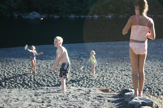 The Chetco River Inn: one of the beaches out front door, kids could get up go out and right down to beach and river