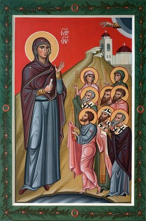Russian Orthodox Church : The Bogolubskaya Icon of the Theotokos with saints of the North Africa
