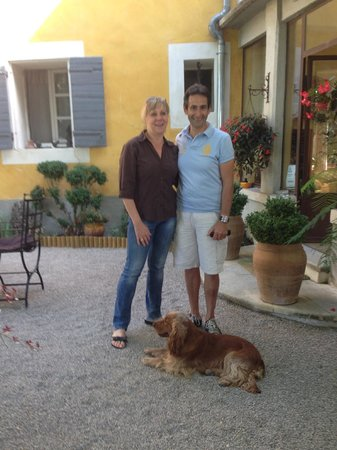 La Villa Noria : Sylvie, Phillipe, and Herly on the gravel terrace in front of their B&B