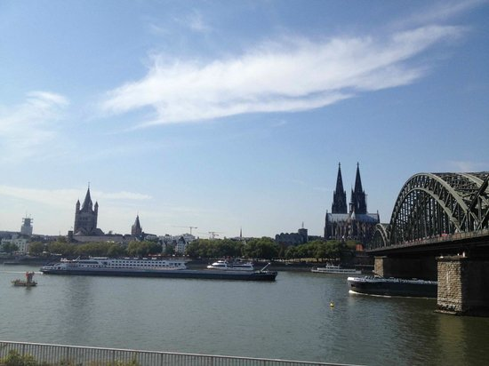 Hyatt Regency Cologne: View of the Dom and the Altstadt, just across the Rhine from the hotel
