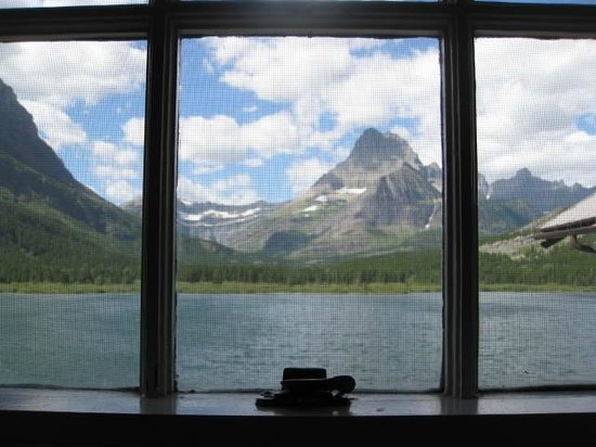 Many Glacier Lodge: View from Window of Lakefront Refurbished Balcony Room #329
